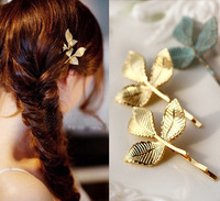 Vintage three  Leaf Design Metal 18K Gold Plating Barrettes Hair Clip hair accessory, wholesale  F-046