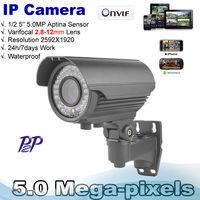 High Resolution  48pcs IR  Leds  2.8-12mm Varifocal lens5.0 MP high resolution 1920p real time H.264 video IP Zoom Camera