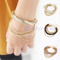 2014 Fashion Women Elegant Gold Chain Braided Rope Multilayer Bracelet Handmade Chain Free Shipping