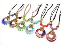 HX1052 New design fashion Bohemia styles glaze pendant necklace high quality vintage tribal women's jewelry 12pcs/lot