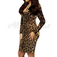 Women Dress Leopard Print Sexy Slim Evening Cocktail Party S M L XL