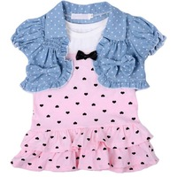 2014 New Baby Girls Summer Clothing Sets Cake Dress+Denim Vest 2 Pcs/Set For 4-24M Kids Wear Clothes Free Shipping#KS0160