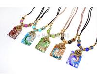HX1055 free shipping fashion Bohemia styles glaze pendant necklace high quality vintage tribal lady's jewelry 12pcs/lot