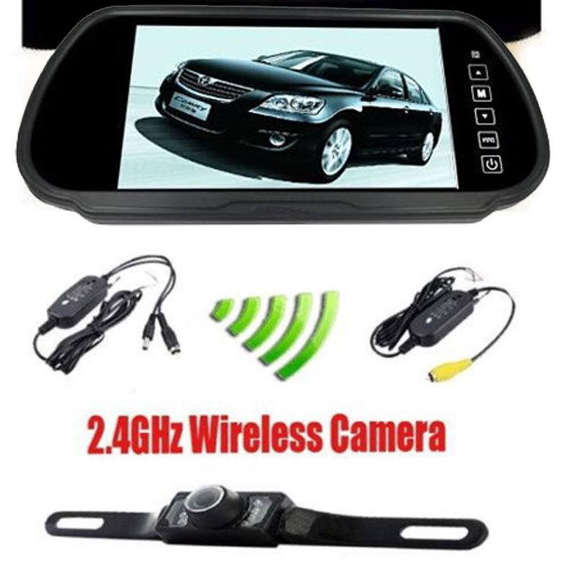 "7"" inch TFT LCD Rear View Mirror Monitor & 2.4GHz Wireless Reverse Car Rear View Backup Camera Kit Free Shipping(China (Mainland))"