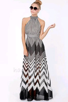 2014 New Wave Stripe Perspective Patchwork Chiffon Dress Long Design Long Halter-neck Women Summer Dress Plus Size S-XL