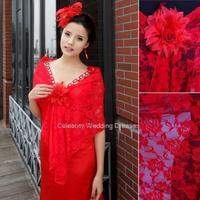 2014 newest sexy red lace shawl hollow pattern wedding wild sunscreen shawl P59 satin bolero