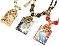 HX1054 Promotional fashion Bohemia styles glaze pendant necklace high quality vintage tribal women's jewelry 12pcs/lot