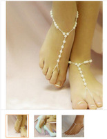 20pcs/lot free shipping woman barefoot sandals pearl anklets foot jewelry for bohemian style beach wedding bridal accessories