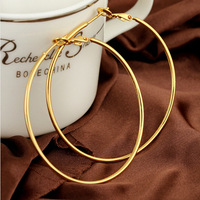 Simple fashion brand designer jewelry 18K gold-plated Round metal hoop earrings high quality Alloy women Accessories 2014 M11