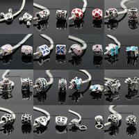 Bulk Quality Mix Styles Charms 25Pcs/Lot 925 Silver Big Hole Handmade CZ Stone Beads Fits DIY European Bracelets SeenDom Jewelry