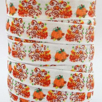 WM ribbon pumpkin /OEM 5/8inch140709001 folded over elastic 50yds/roll free shipping(China (Mainland))