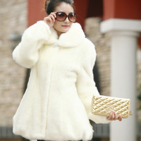 2013 autumn and winter plus size women fur coat medium-long mink fur overcoat