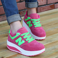 Free shipping  2014 autumn  winter women's  sneakers shoes leather platform shoes women swinging platform sneakers increased