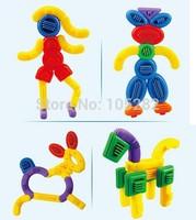 2014 Factory Wholesale(45pcs/lot)3C Children'Block Desktop Toy Colorful PVC Plastic Baby Kids Brick Soft Puzzle Educational Toys