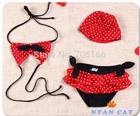 Newest princess kids girls swimsuit+hat,child bikini swimwear Cute cotton two-pieces bathing suit,free shipping