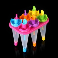 6 colors Umbrella 6 Cell Frozen Ice Cream Pop Mold Popsicle Maker Lolly Mould Tray