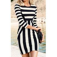 Sexy Elegance Dress For Wedding Party Women Prom Dress Black And White O-Neck Stripe Plus Size Club Dresses