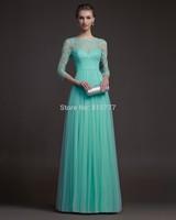 Pretty  Mint Green Tulle Long 2014 Elegant  Lace  3 4 Sleeve Modest Evening Dresses Prom Dresses