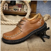2014 New Autumn&Winter Men's ankle boots High Quality Men Genuine Leather shoes Fashion outdoor sneakers