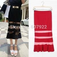 2014 New Summer Spring Women Mermaid Skirts Fashion Sheer Mesh Striped Skinny Skirt In Black Red For Female Girl 14705