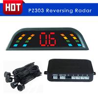 High quality Car LED Parking Sensor radar PZ303 Backup Reverse Radar 4 sensors parktronic free shipping