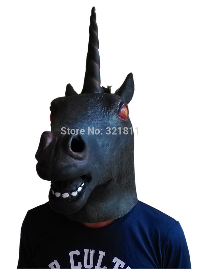 christmas Creepy Black Evil Unicorn Mask Costume Latex Unicorn Horse Mask(China (Mainland))