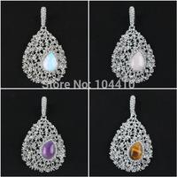 New Fashion Mixed Amethyst Opal Rose Quartz Inlay Rhinestone CZ Teardrop Filigree Pendant Beads Wholesale