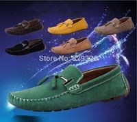 2014 Men's Casual Designer Trendy Solid Genuine Leather Velvet Loafers Men Suede Driving Mocassin Flats Slip On