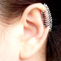 Free shipping!10pcs/lot European punk style cool spine shaped non pierced metal ear clip earring accessories