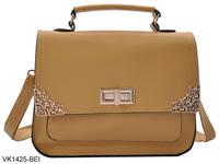 5 Colors 2014 Women Handbags Fashion Satchels Messenger Bag With Metal Corners PU Leather Shoulder Bags Free Shipping  VK1425