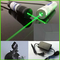 30mw 532nm LINE green laser diode module with power supply and laser bracket plug and use