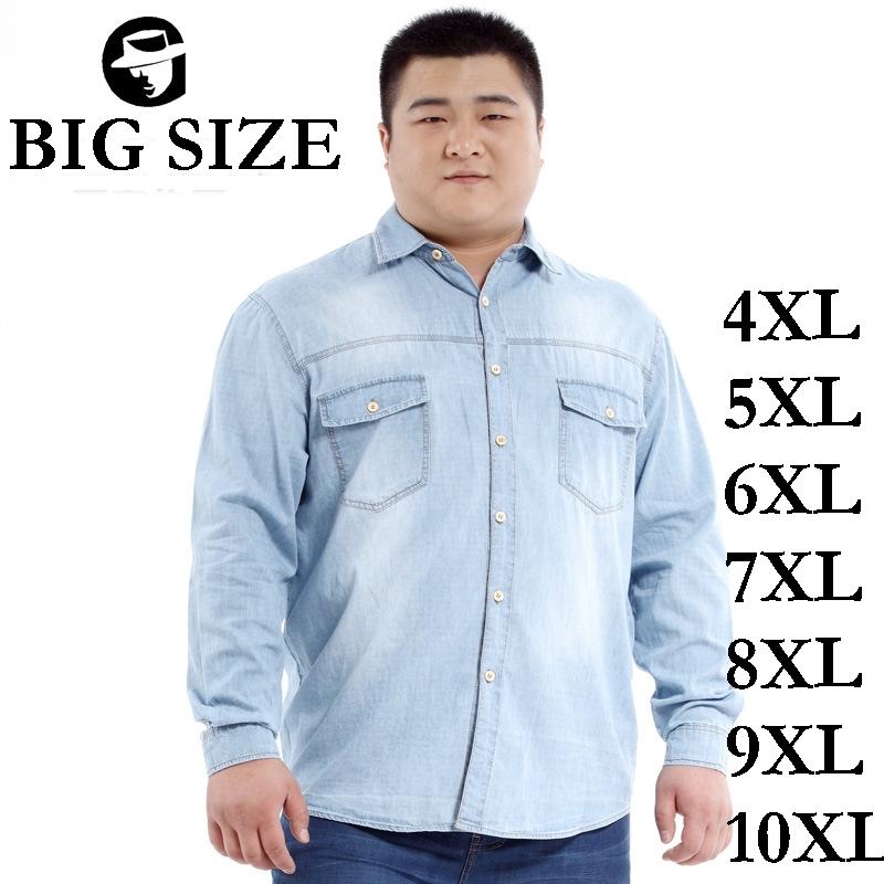 hot sale big size 6xl 10xl fat men s denim shirt light blue jeans