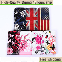 High Quality Flower Leather Vertical Flip Cover Case With Card Slot For LG L90 D410 Free Shipping UPS DHL HKPAM CPAM