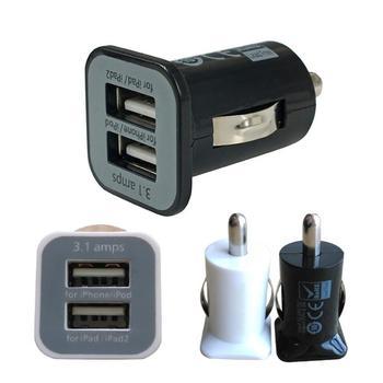 Зарядное устройство мини универсальное USB для прикуривателя 2 порта черный цвет