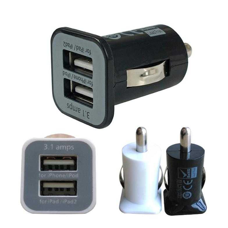 Micro Auto Universal Dual 2 Port USB Car Charger For iPhone iPad iPod 3.1A Mini Car Charger Adapter / Cigar Socket Black FMHM109(China (Mainland))