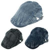 Summer Denim Hat For Girls Men Women Vintage Beret Cap Newsboy Cowboy Hat Flat Cabbie Causal Driving Hats Blue Black