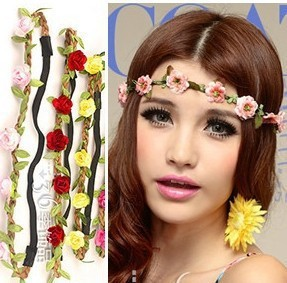 Wholesale seaside beach bride bridesmaid jewelry flower head wreath ribbon essential accessories photographed on vacation FDW-01(China (Mainland))