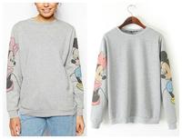 New Fashion201407  O-Neck Long Sleeve Sweatshirts Pullovers Hoodies Mickey Cartoon Loose  Women Top Gray Free Shipping