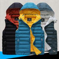 New Winter 2014 Casual Down Cotton Waistcoat Hooded Vest Men Brand Fashion Male Men's Vests Slim Fit Quality Man Vest 3XL 3COLOR