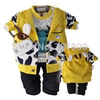 2014 new boys autumn-winter cartoon cow coat+shirt+pant clothing sets 3pcs kids apparel infant suit retail wholesale