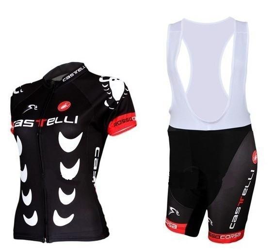 Grátis frete Castelli escorpião preto bicicleta Jersey feminino de manga curta ciclismo Jersey Girl Bib Shorts bicicleta desgaste do esporte terno(China (Mainland))