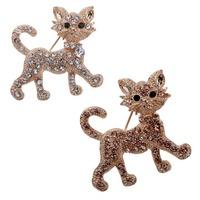 Hot Fashion  Champagne Cat Design Brooch Pin Jewelry Rhinestone Inlay  Prom For Wedding
