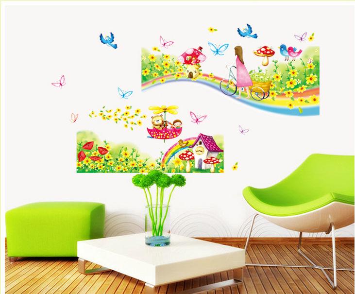 Behang Kinderkamer Regenboog : Rainbow Girls Room Wall