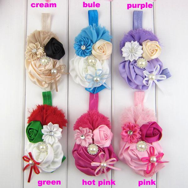 Free Shipping 6 pcs/ lot 2014 New Baby Girl's Elastic Shabby Rose Flower Headbands with rhinestone pearl Christmas fashion Gift(China (Mainland))
