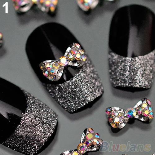 10pcs nail art dicas adesivos deco arco nó liga jóias multicolor glitter