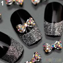10pcs Nail Art Tips Stickers Deco Bow Knot Alloy Jewelry Multicolor Glitter Rhinestone nail gel 1JN7