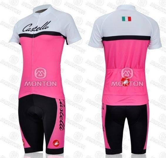 Castelli moda equipe de ciclismo feminino rosa jersey roupas bicicleta cal??es meninas BIB esportes desgaste ciclo terno(China (Mainland))