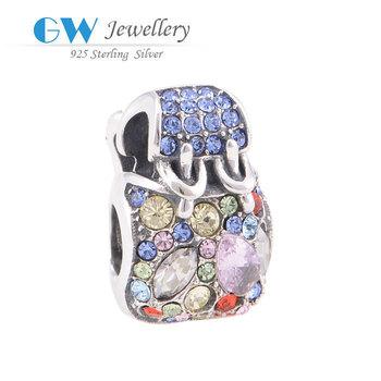 Super deal Модный Женщины bag Sterling Silver Slide Charms For European Стиль Leather ...