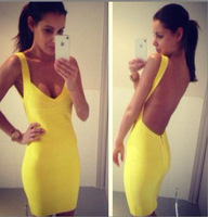 High Quality Bandage Bodycon Dress Sexy Cocktail Party Woman Dress Backless Dress