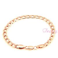 6mm Mens Womens 18K Rose Gold Filled Curb Bracelet Chain Bangles